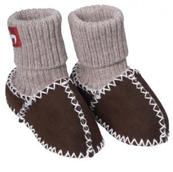 Babyschuhe mit Schaffell und Alpaka-Bund